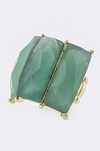 TRENDY FASHION JEWELRY BENT RECTANGLE JEWEL RING BY FASHION DESTINATION | (Green) (Roberto Green Ring Coin)