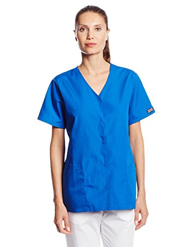 (Cherokee Women's Workwear Snap Front V-Neck Scrubs Shirt, Royal, Small )