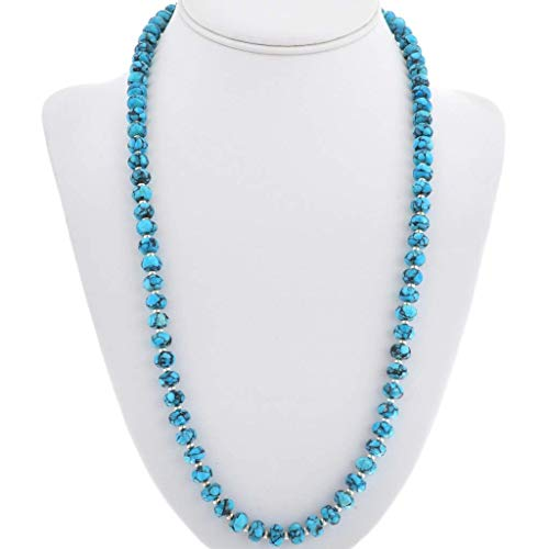 Spiderweb Turquoise Silver Bead Necklace Navajo Long Single Strand 3641 (Single Strand Necklace Turquoise)