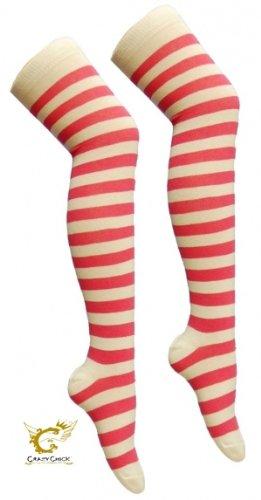 AXTokyo Women's Striped Over The Knee High Socks Fancy Dress One Size -