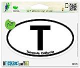 "T Temecula California Oval Car Sticker Indoor Outdoor 5"" x 3"""