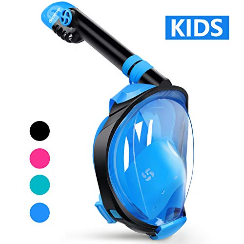 Greatever G2 Full Face Snorkel Mask with Latest Dry Top System,Foldable 180 Degree Panoramic View Snorkeling Mask with Camera Mount,Safe Breathing,Anti-Leak&Anti-Fog (Blue, - System G2 Travel