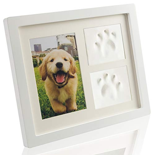 SCIROKKO Pet Memorial Picture Frame with Clays for Paw Print - Pet Keepsakes Kit - Remebrance ()