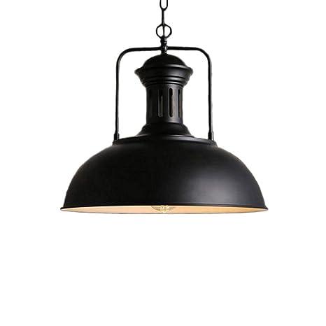 Huahan Haituo Iluminación de la lámpara de techo colgante de sombra de metal antiguo industrial 1 Colgante de techo de luz UFO (Negro, 42cm)