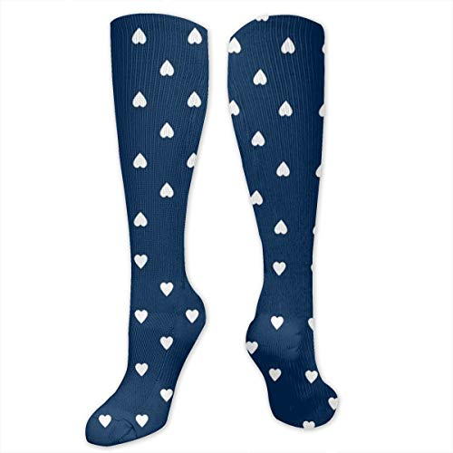 Niwaww White Hearts On Navy Blue Compression Socks for Women and Men - Best Medical,for Running,Nursing,Hiking,Varicose Veins,Circulation & -