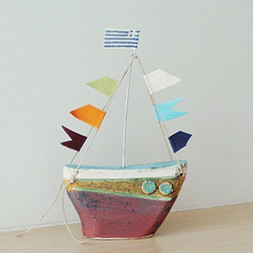 - Ceramic sailing boat with colourful flags, stoneware clay boat sculpture with wire mast and fabric flags, Greek sailing boat, colorful boat sculpture