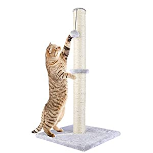 Dimaka 29″ Tall Cat Scratching Post, Claw Scratcher with Sisal Rope and Covered with Soft Smooth Plush, Vertical Scratch [Full Strectch], Modern Design 29 Inches Height