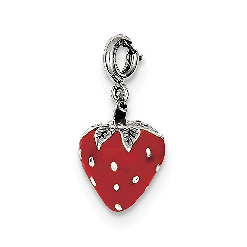 925 Sterling Silver Enameled Strawberry Charm (15mm x 10mm)