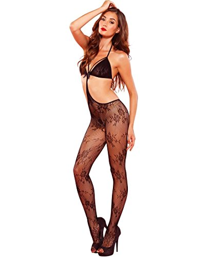 Leg Avenue Lace Bodystocking - Leg Avenue Women's Floral Lace Strappy Cut Out Bodystocking - Black - One Size