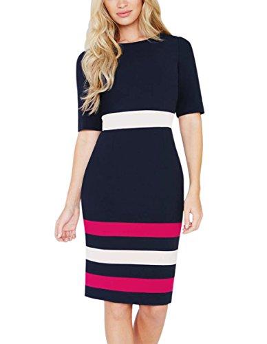 womens-elegant-half-sleeve-colorblock-wear-to-work-sheath-pencil-dress-224-mblue