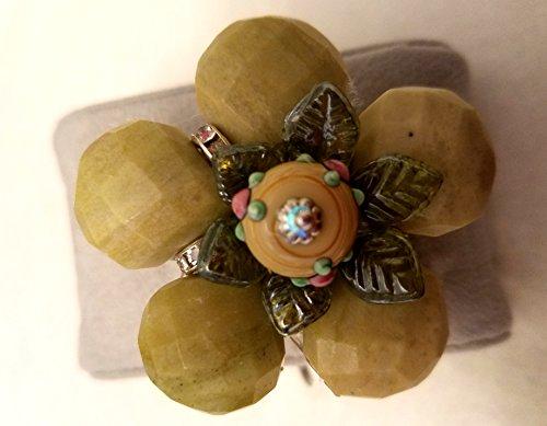- Peridot Jasper Flower Hinge Bracelet