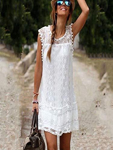 Women Lace Dress Short Mini Dress Tassel Sleeveless O-Neck Solid Casual Beach Holiday Sundress (White, L)