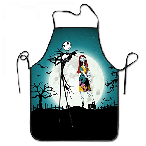 (SARA NELL Apron Halloween Girl and Skeleton Lock Edge Waterproof Durable String Adjustable Easy Care Cooking Apron Kitchen Apron for Women Men Chef )