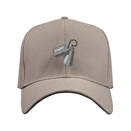 Baseball Hat Dog Tags Embroidery Military Unit Acrylic Structured Cap Hook & Loop - Gray, Design Only