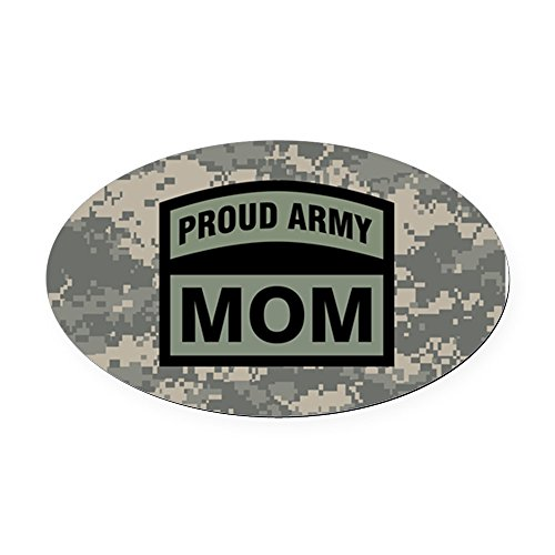 CafePress - Proud Army Mom Camo - Oval Car Magnet, Euro Oval Magnetic Bumper Sticker ()