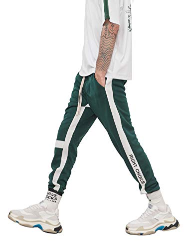 Floette Stripe Track Pants Casual Athletic Jogger Hip Hop Drawstring Pants Side Striped Color Unisex
