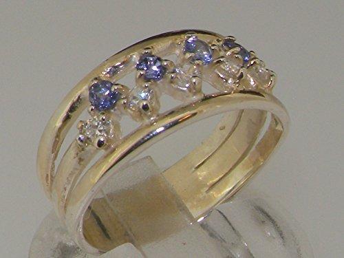 Haute Qualité Bague pour Femme en Argent fin 925/1000 sertie de Tanzanite et Diamant - Tailles 47 à 68 disponibles