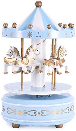 Caja de música de madera del carrusel de 4 caballos vendimia windry merrygoround juguete artware artesanía de arte tabla dacoration navidad regalo de boda de cumpleaños para niñas niños niños - azul
