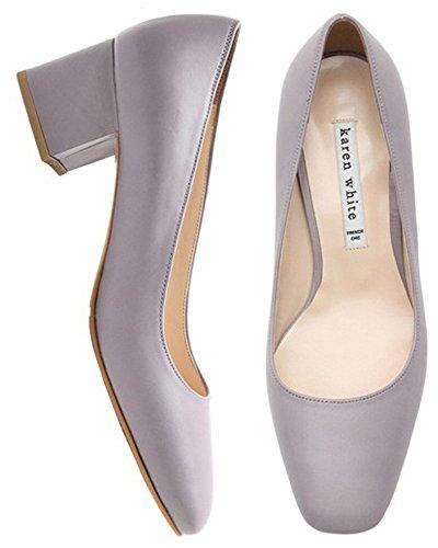 Karen Blanc Femmes Talon Moyen Pompes En Cuir Véritable Printemps Chaussures, Plusieurs Couleurs Lavande
