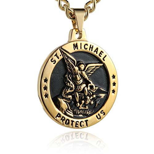 HZMAN St Michael The Archangel Catholic Medal Stainless Steel Amulet Pendant Necklace 22+2