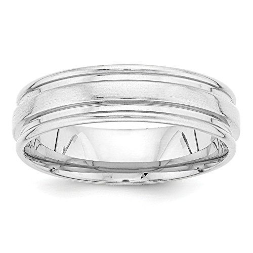 Roy Rose Jewelry 14K White Gold Double Grooved Comfort Fit Satin Finish Center Wedding Band Ring Size 9.5