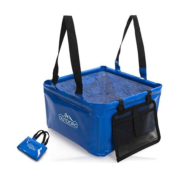 41%2B1qtpqDpL Outdoro Faltschüssel Groß - 16/22 Liter - Inklusive Zusatz-Tasche - Langlebiges Planen-Gewebe - Faltbare Waschschüssel…