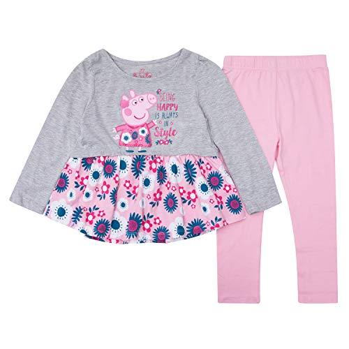 Peppa Pig Shirt & Leggings Set - 1 Long Sleeve T-Shirt & 1 Peppa Leggings - 2 Piece Set (Pink/Grey, -