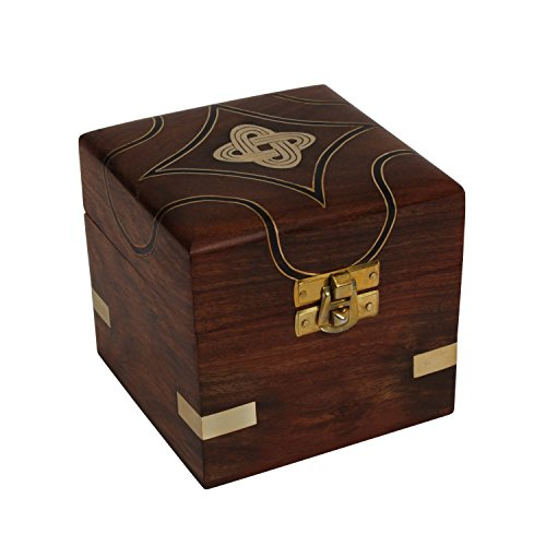 storeindya Wooden Jewelry Box Storage Organizer Multipurpose Box Wooden Keepsake Box/Kids Treasure Chest Box/Treasure Chest for Kids Trinket Holder for Women Men Girls (Infinity - Brass Treasure Chest