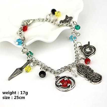 Amazon.com: LUCILAS 9,8 inch Naruto Charm Bracelets Konoha ...