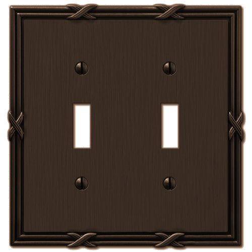 Amerelle 44TTVB Ribbon and Reed 2 Toggle Wallplate, Aged Bronze