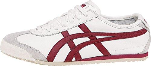 Onitsuka Tiger Mexico 66 Classic Running Shoe, White/Burgundy, 6 M US