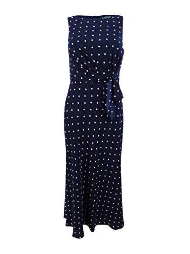 LAUREN RALPH LAUREN Womens Polka Dot Sleeveless Midi Dress Navy 0
