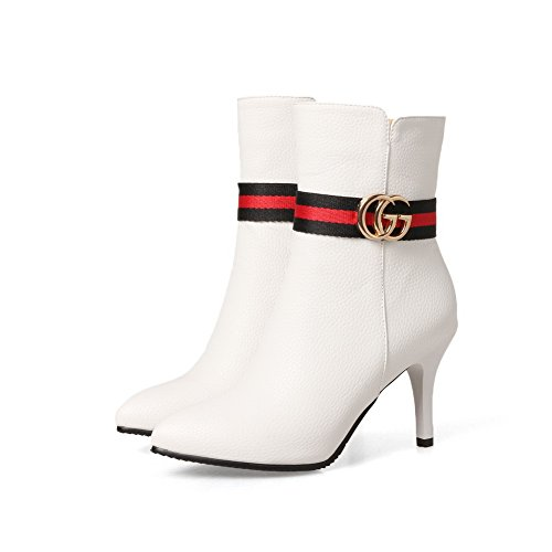 AN A&N Womens Boots Closed-Toe Zip Ankle-Strap Mid-Heel Stripes Leather-and-Synthetic Charms Tuxedo Urethane Boots DKU01690 White PclQVK6k