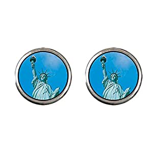 Chicforest Silver Plated Statue Of Liberty Photo Stud Earrings 10mm Diameter