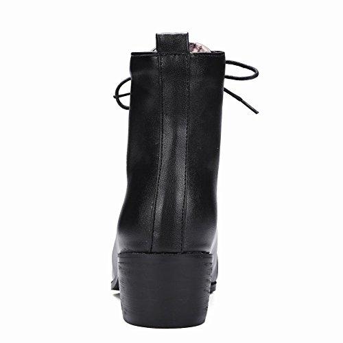 Shine Chukka Toe Boots Show up Chunky Black Mid Lace Women's Heel Point dnzqg