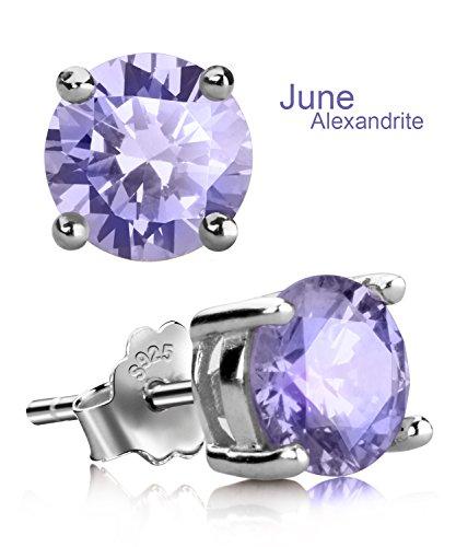 UHIBROS Sterling Silver Ear Stubs Birthstone Stud Earrings Round Cubic Zirconia Diamond June (Diamond Moonstone Earrings)