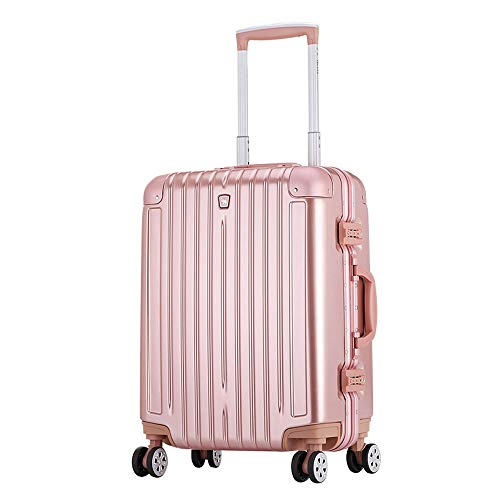 1647 QARYYQ Travel Suitcase Universal Wheel Boarding Suitcase/Trolley Case/Lock Box Metal Bumper Angle Aluminum Frame Trolley case (Color : Rose Gold, Size : 47x28x64cm)