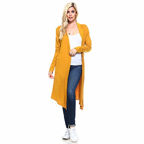 Isaac Liev Women's Trendy Extra Long Duster Open Front Long Sleeve Light Weight Maxi Cardigan (X-Large, Mustard Gold)