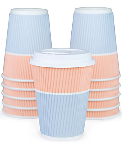 Premium Disposable Coffee Cups With Lids - 90 Sturdy Paper Coffee Cups With Snug Lids Prevent Leaks! Well Insulated For Hot Beverages To Go, No Sleeves Needed. Cute Design For Office And Parties!