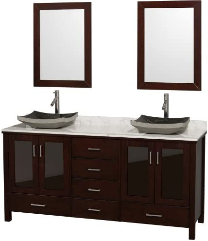 Wyndham Collection Lucy 72 inch Double Bathroom Vanity in Espresso, White Carrara Marble Countertop, Altair Black Granite Sink, and 24 inch Mirrors