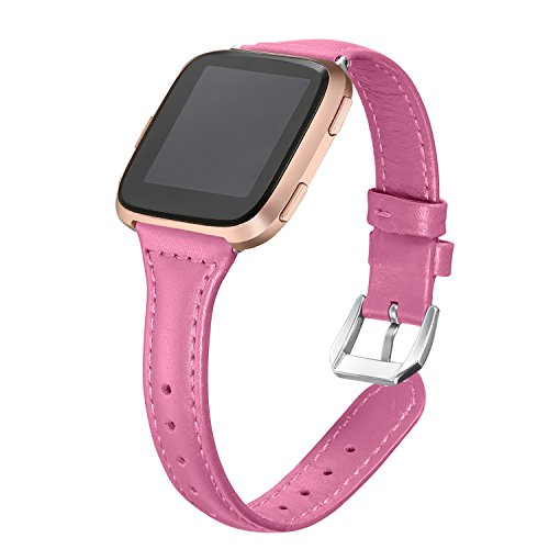 bayite Bands For Fitbit Versa, Slim Genuine Leather band Replacement Accessories Strap for Versa Women Men, Hot (Lady Hot Pink Leather)