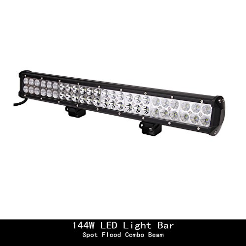 "Topcarlight 24"" inch 144W Flood Spot Combo Beam LED Work Light Bar for Truck Car ATV SUV 4X4 Jeep Driving Lamp Waterproof"