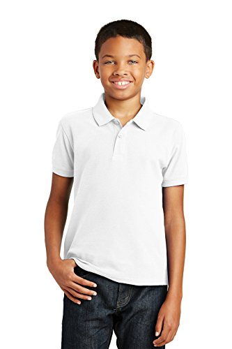 Port Authority Boys Core Classic Pique Short Sleeve Collared Golf Polo, L, White