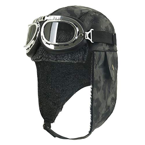 Winter Snowboard Fur Ear Flaps Trooper Trapper Pilot Goggles, Camo ()