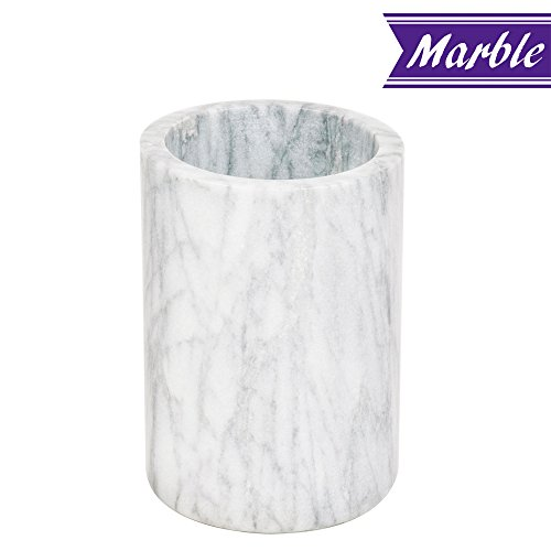 Marble Wine Cooler / Champagne Chiller, Natural White Marble, 6 x 4-Inch Elegant Wine Bottle Chiller - Marble Utensil Holder by Tezzorio by Tezzorio Bar Supplies