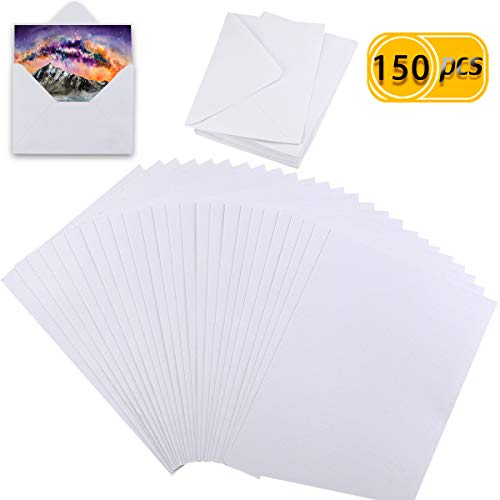 Newbested 100PCS White Watercolor Paper, 100% Rag Cotton Watercolor Paper Cold Press Cut Bulk for Watercolorist Students Beginning Artists 4.7 by 6.7 Inches with 50Pcs White Envelope 5 by 6.8 Inches
