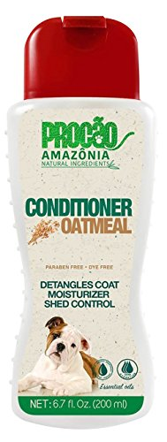 PROCÃO: Oatmeal Pet Conditioner (6.7 oz) - Dry and Itchy Skin - Detangles Coat - Shed Control - All Natural - Antioxidants- Sustainably Sourced from Amazon Rainforest- No Parabens or Dye