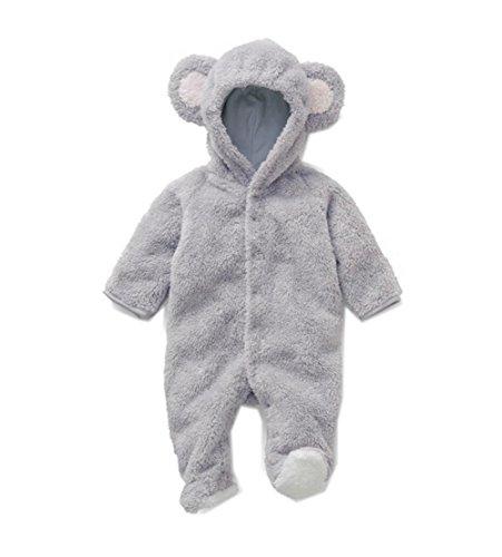 Ikerenwedding bebé Jumpsuit Romper Animal Pijamas Para La Primavera y el invierno Gris 80