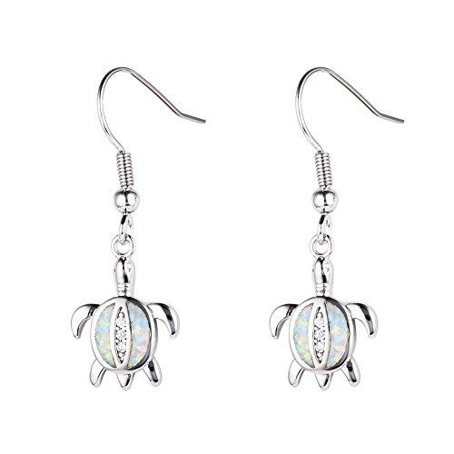 OMZBM Created Fire Opal Gemstone Earrings Sterling Silver Health And Longevity Turtle Long Dangle Hook Earrings Jewelry White/Blue ()
