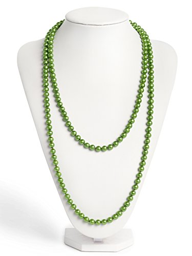 Bead Necklace Green - Zivyes Fashion Faux Pearls 1920s Pearls Necklace Gatsby Accessories Cluster 59